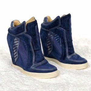 L.A.M.B. | Freeda Mesh Navy Suede Wedge Sneaker
